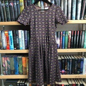 LuLaRoe Purple & Yellow Floral Print Amelia Dress